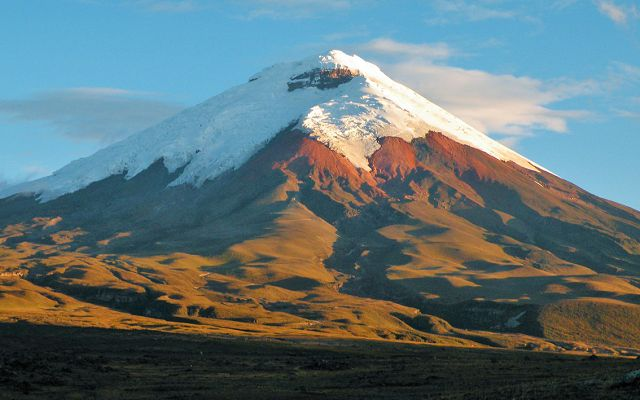 view on the snowcapped peaks of Cotopaxi Volcano in Ecuador