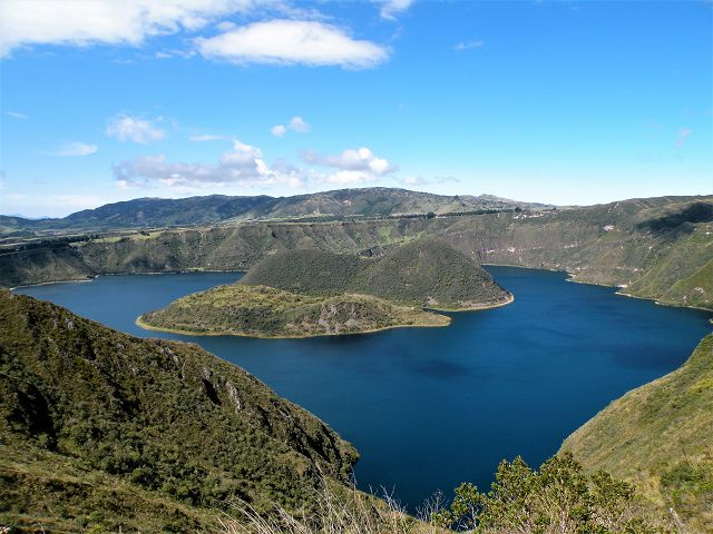 view on the dark blue water of the laguna cuicocha