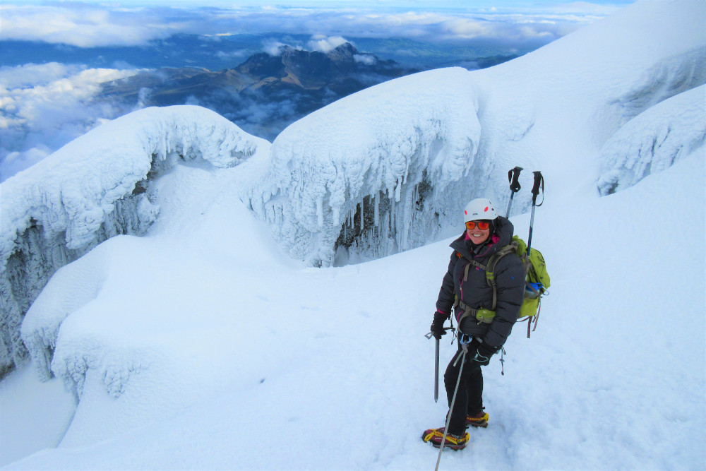 Mountaineer on the glacier of Cotopaxi