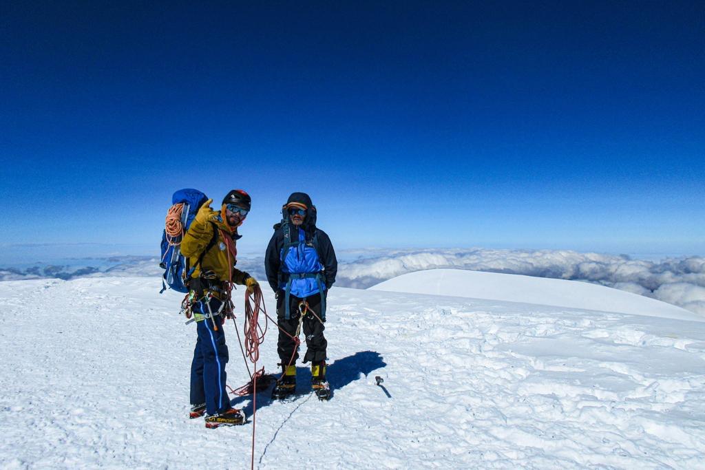 two men at Chimborazo summit